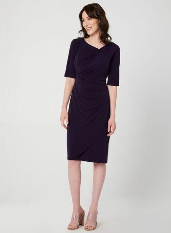 Jersey Elbow Sleeve Dress, Purple, hi-res,  fall 2019, winter 2019, asymmetric, jersey elbow sleeves
