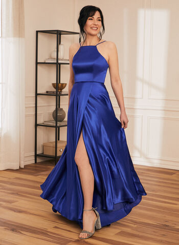 Apron Neck Satin Dress, Blue,  prom dress, a-line, gown, apron neck, lace-up, satin, pockets, lined, full length, spaghetti straps, spring summer 2021