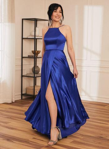 Robe satinée à fines bretelles, Bleu,  robe de bal, robe, robe de soirée, satin, sans manches, fines bretelles, poches, corset, printemps été 2021