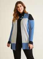 Colour Block Mid Length Cardigan, Blue