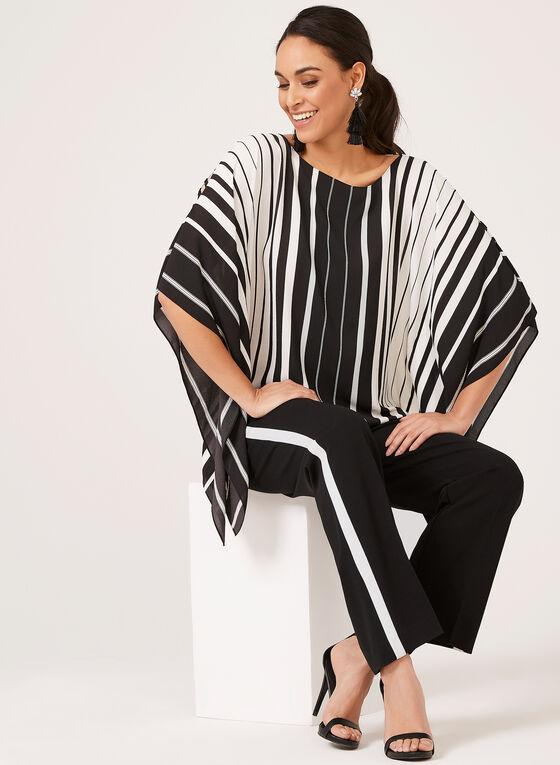 Striped Crepe Poncho, Black, hi-res