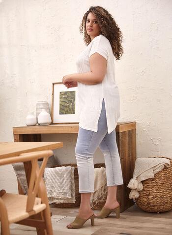 Pull texturé asymétrique à manches courtes, Blanc,  pull, manches courtes, asymétrique, texturé, printemps été 2020