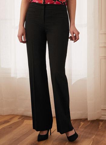 Louben - Pantalon à jambe droite , Noir,  printemps été 2021, pantalon, jambe droite, coupe moderne, zip, barrette, crochet, taille, mi-haute, plis, poches, passepoilées, matière confortable, louben, fait au canada