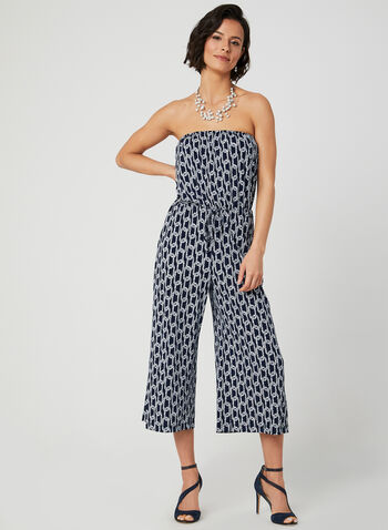 Geometric Print Strapless Jumpsuit, Blue, hi-res,  jersey, cropped, wide leg, sleeveless, spring 2019, summer 2019