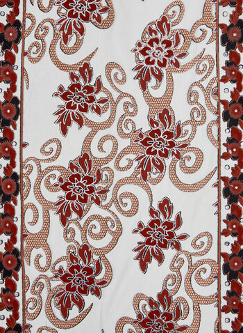 Crystal Embellished Floral Print Scarf, Red, hi-res