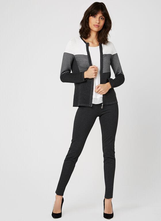 Cardigan à rayures texturées , Gris, hi-res