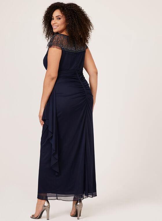 Robe de soirée à empiècement de maille perlée, Bleu, hi-res
