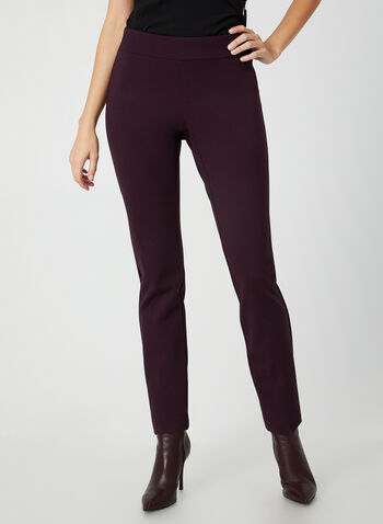 Pantalon pull-on à jambe étroite, Violet,  pantalon, pull-on, point de rome, jambe étroite, pinces, automne hiver 2019