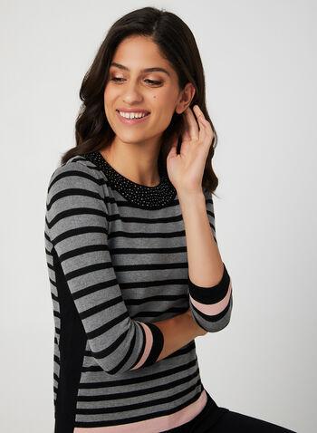 Stripe Print Sweater, Black,  stripe print, fall winter 2019, stretchy knit, 3/4 sleeves