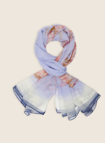 Light Floral Print Scarf , Blue,  scarf, floral, light, chiffon, Spring 2020