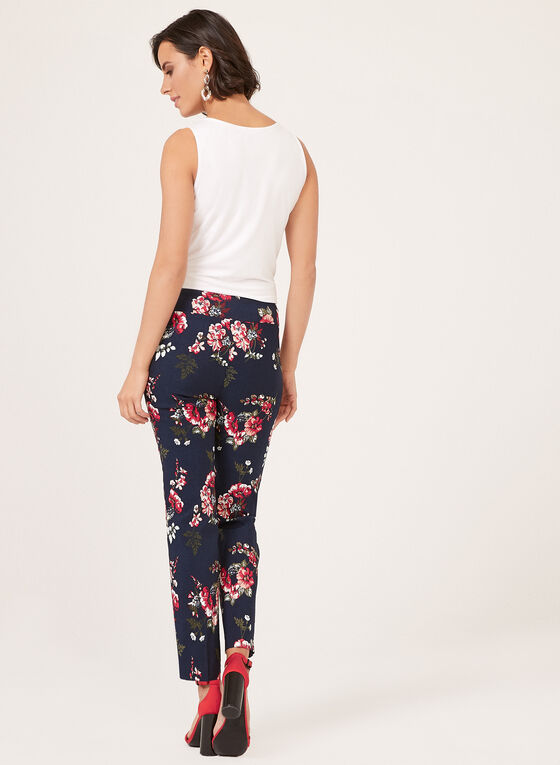 Pantalon pull-on à fleurs en bengaline, Bleu, hi-res