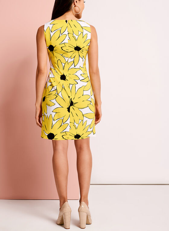 Keyhole Neck Daisy Print Dress , White, hi-res