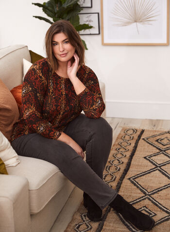 Baroque Floral Print Top, Orange,  made in Canada, top, boat neck, 3/4 sleeves, dolman sleeves, baroque, floral, ribbed, fall winter 2021