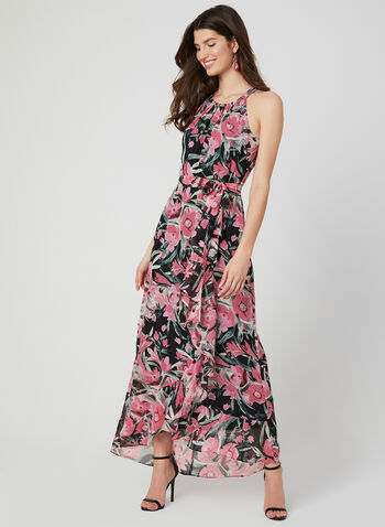Floral Print Maxi Dress, Pink, hi-res,  Spring 2019, chiffon, floral print, cleo neck, Sleeveless