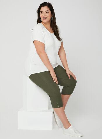 Straight Leg Capris, Green,  Spring 2019, capris, pull-on waist, Straight leg