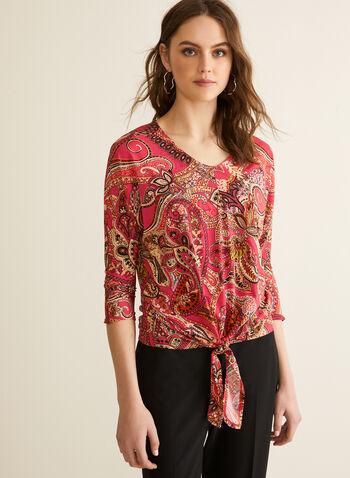 Haut motif cachemire à nœud, Rouge,  printemps été 2020, haut, manches dolman, manches 3/4, blouse, motif, cachemire, noeud, fait au Canada
