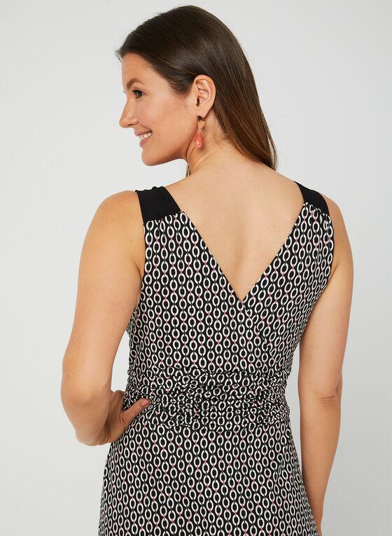 Geometric Print Sleeveless Dress, Black, hi-res