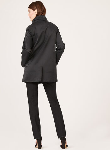 Detachable Hood A-Line Trench Coat, Black, hi-res