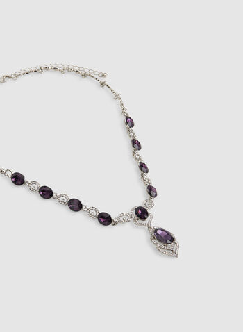 Facetted Stone Crytsal Detail Necklace, Purple, hi-res,  crystal necklace, stone necklace