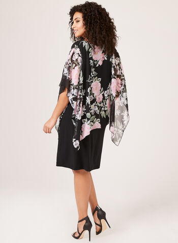 Muted Floral Poncho Dress, Black, hi-res
