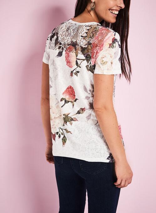 Rose Print Crochet Yoke T-Shirt, White, hi-res