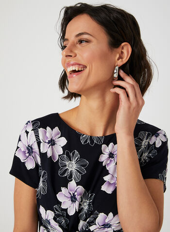 Jessica Howard – Floral Print Twist Detail Dress, Blue, hi-res