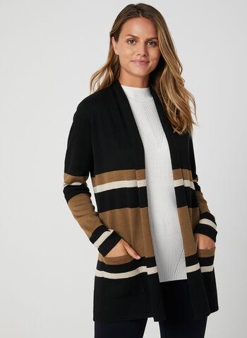 Cardigan à blocs de couleurs, Noir, hi-res,  automne hiver 2019, tricot, blocs de couleurs, ouvert, col châle, motif, manches longues, poches