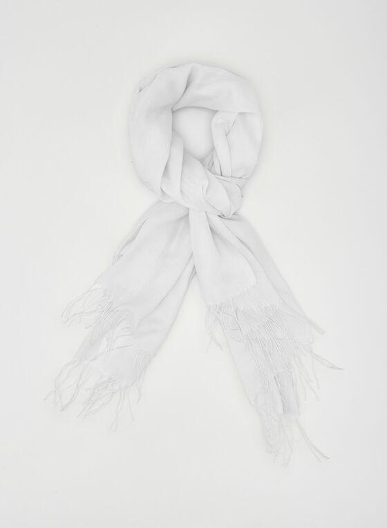 Fringe Pashmina Scarf, White