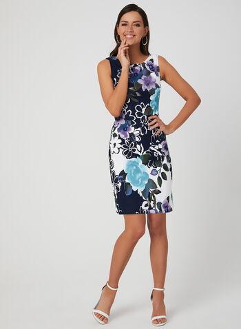 Robe fourreau à fleurs, Bleu, hi-res,  robe de jour, fourreau, fleurs, sans manches, fourreau, printemps 2019