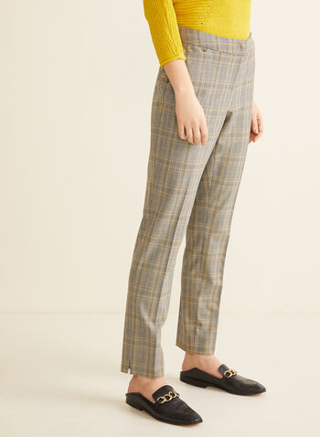Tartan Print Straight Leg Pants, Black,  pants, tartan, modern fit, mid rise, straight leg, stretchy, pockets, spring summer 2020