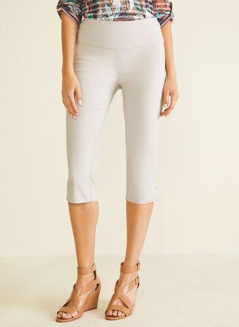 Slit Detail Pull-On Capris, Grey,  capris, pull-on, slim leg, bengaline, slits, spring summer 2020