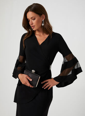 Bell Sleeve Cocktail Dress, Black,  fall winter 2019, jersey, bell sleeve, 3/4 sleeves, long sleeves, crystal detail, cocktail dress