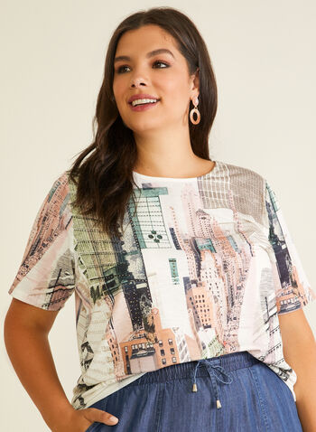 City Print Rhinestone Detail Tee, Green,  t-shirt, scoop neck, city print, rhinestones, short sleeves, jersey, spring summer 2020