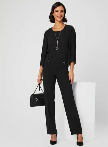 Pleated Bell Sleeve Blouse, Black, hi-res