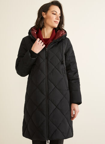 Novelti - Quilted Coat With Hood, Black,  coat, quilted, down, feather, hood, faux leather details, fall winter 2019