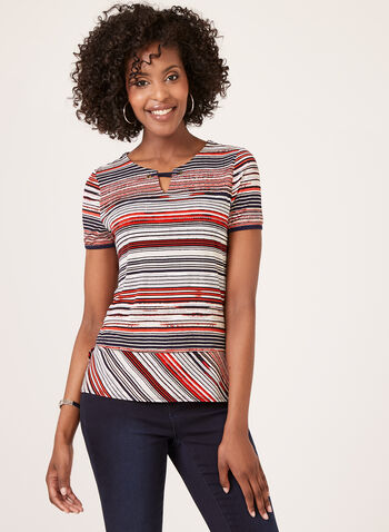 Stripe Print Short Sleeve Top, Red, hi-res