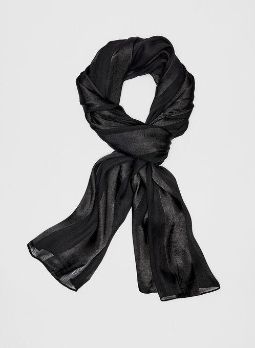 Foulard rayé à l'aspect satiné, Noir, hi-res