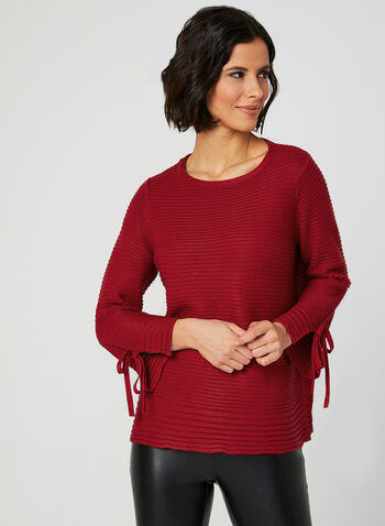 Ribbed Knit Tie Detail Sweater, Red, hi-res