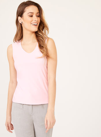 Sleeveless Jersey Top , Pink, hi-res