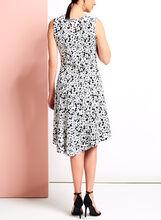 Daisy Print Asymmetric Midi Dress, Black, hi-res