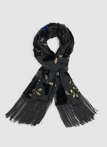 Burnout Floral Scarf, Black,  fall winter 2019, floral print, scarf, evening wrap