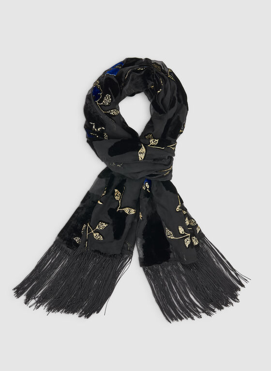 Burnout Floral Scarf, Black