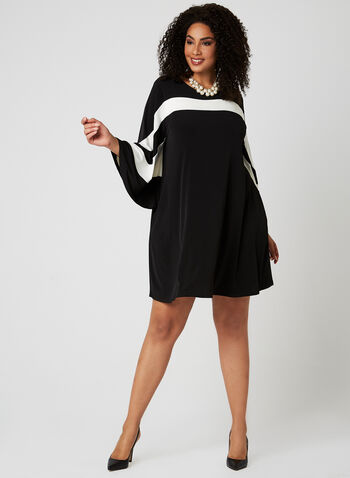Nina Leonard - Bell Sleeve Dress, Black, hi-res