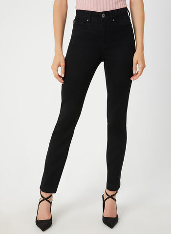 Signature Fit Straight Leg Pants, Black,  fall winter 2019, denim, jeans, crystal, straight leg