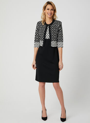 Dot Print Dress & Jacket Set, Black, hi-res