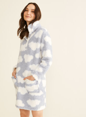 Karmilla Lingerie - Plush Cloud Print Nightgown, Blue,  nightgown, pyjama, sleepwear, cozy, long sleeves, gift, printed nightgown, plush nightgown, holidays, fall 2019, winter 2019
