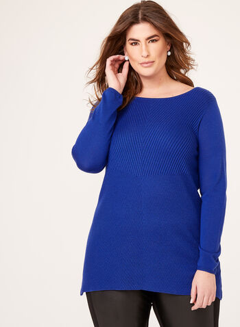 Pull tunique en tricot, Bleu, hi-res