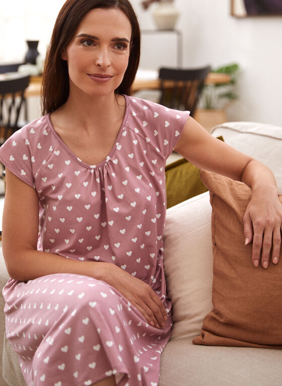 Heart Print Nightgown, Pink