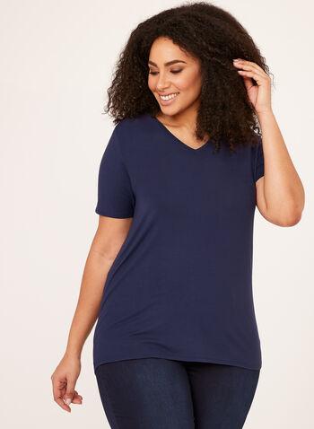 V-Neck T-Shirt, Blue, hi-res
