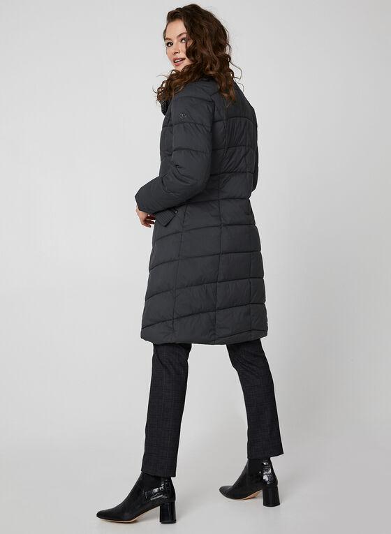 Bernardo - Medium Length Chevron Quilt Coat, Grey